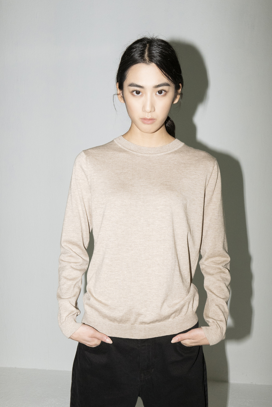 Ore Knitted crew-neck pullover (#55 OATMEAL/#99 BLACK)