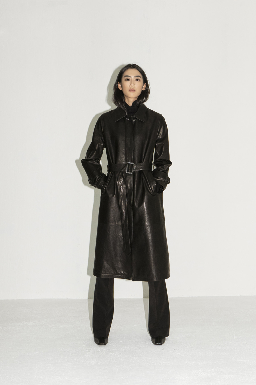 Leather belted coat (Showroom only)