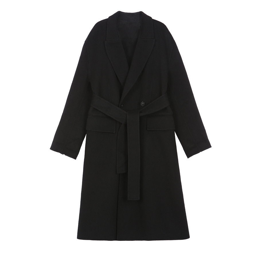 Cashwool structured coat BLACK- handmade