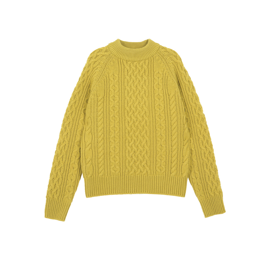 Cable knitted pull-over mustard