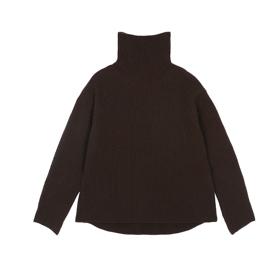Cashwool turtle pullover choco
