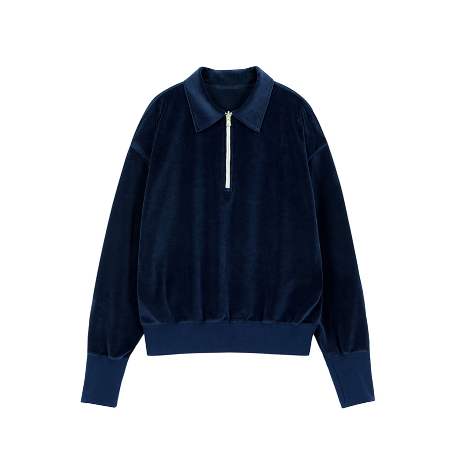ORE COTTON 001 Zip-up Velours Navy