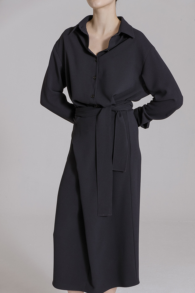 Shirt Wrap Dress Navy