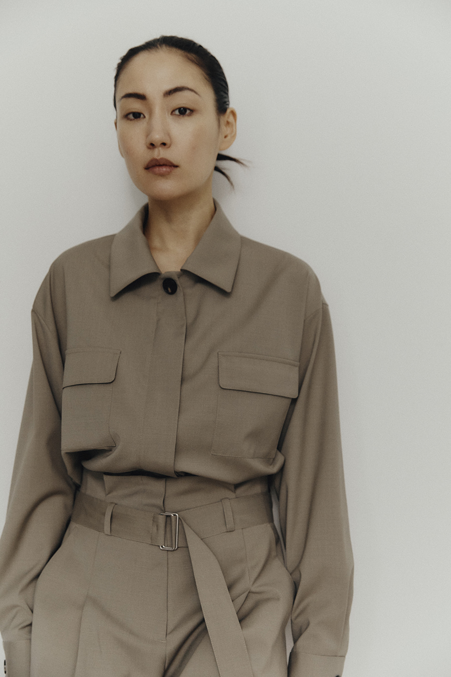 Wool Cropped Shirt L.Khaki