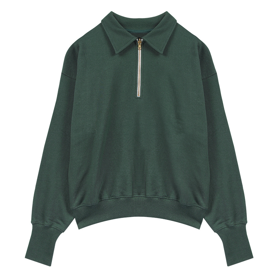 2nd) ORE COTTON 001 zip-up Ever Green