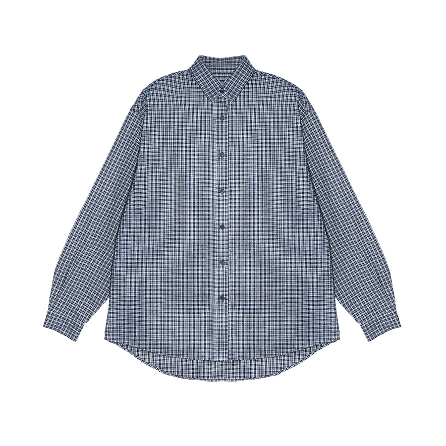 2nd) Easy Checked Shirt Navy