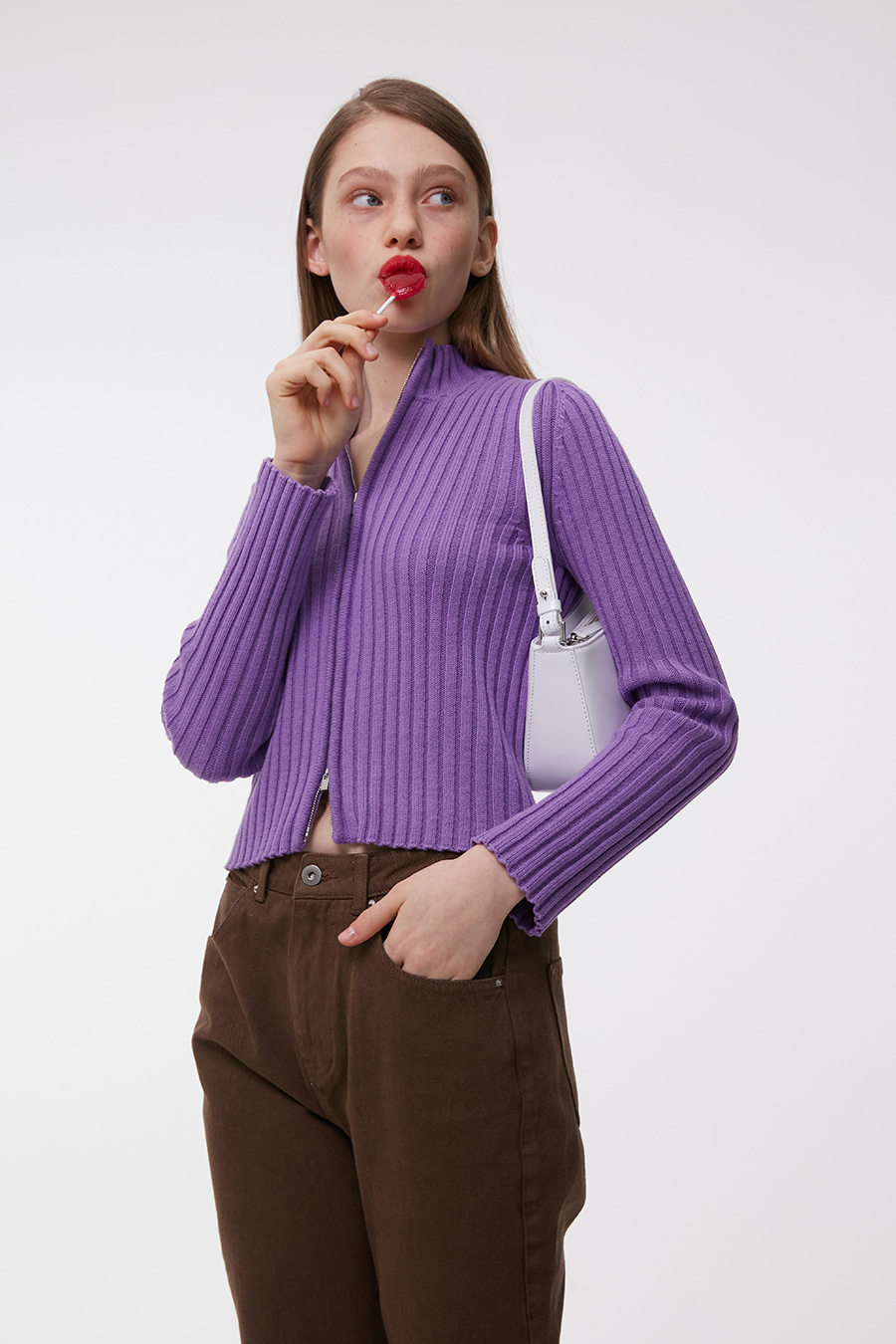 Knitted Ribbed Zip-Up Grape